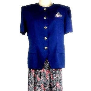 Leslie Fay Skirt Suit Patchwork Matching Hankie